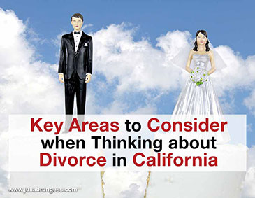 Key Areas to Consider when Thinking About Divorce in California